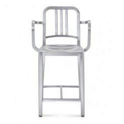 Navy Counter Stool With Arms 1006-24A Emeco